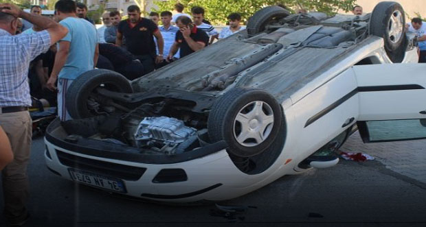 Araba takla attı; 2 kişi yaralandı
