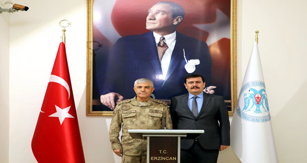 Jandarma Genel Komutanı Orgeneral Arif Çetin, Erzincan Valiliği'ni Ziyaret Etti